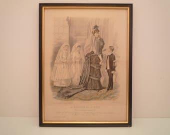 """1800's Antique Fashion Print from French Fashion Magazine """" Le Moniteur de la Mode"""" 188 Paris. First  Communion Ladies Dress engraving frame"""