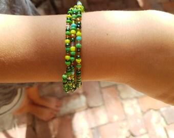 Beaded spiral bracelet