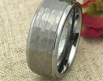 9mm Personalized Tungsten Wedding Band, Custom Laser Engraved Promise Ring for Men, Anniversary Valentine's Day Father's Day Gift