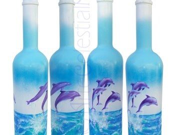 Hand painted vodka bottle with  dolphins