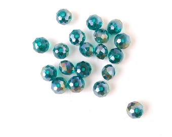 10 beads 4x6mm Crystal faceted rondelle blue zircon ab