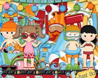 On Sale 50% Pool Party Digital Scrapbook Kit - Digital Scrapbooking