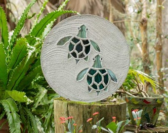 """Baby Sea Turtles Hatchlings Stained Glass Stepping Stone 18"""" Diameter Perfect for Garden Patio or a Path to Your Back Yard Fish Pond #802"""
