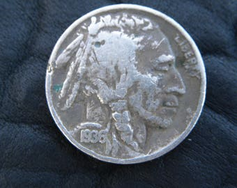 1936  US circulated  authentic vintage Buffalo Indian Nickel coin full date  A135