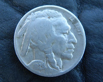 1929 US circulated  authentic vintage Buffalo Indian Nickel coin full date full horn  A137