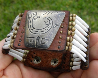 Ketoh Cuff bracelet wristband  Native Indian Navajo vintage sterling silver lizard  good luck shell Bison leather nice gift customize size
