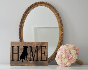 Home Sign with Rottweiler Silhouette on Stained Wood, Dog Decor, Dog Painting, Gift for Dog People, New Puppy Gift Housewarming Gift