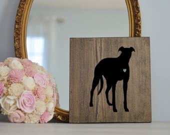 Hand Painted Greyhound Silhouette on Stained Wood, Dog Decor, Dog Painting, Gift for Dog People, New Puppy Gift, Housewarming Gift