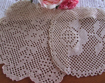 Set of 2 Beige Filet Crocheted Doilies - Vintage Doilies - Handmade Doilies - Ecru Doilies - Vintage Wedding