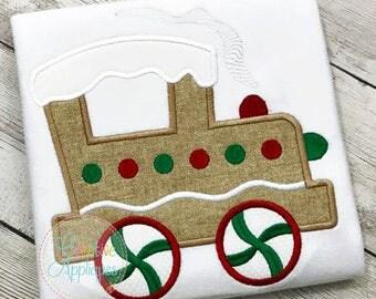 Christmas Gingerbread Train Applique, Train Applique, Christmas Train Applique, Boy XMAS Tee, Boy Christmas Shirt