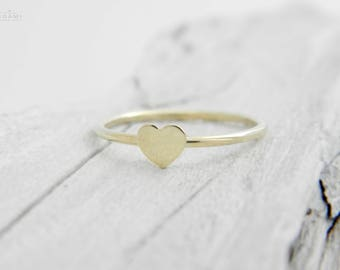 14k solid gold delicate plain heart ring , slim heart gold ring, tiny plain heart gold ring