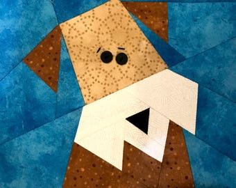 Wire Haired Fox Terrier Paper Pieced Block in PDF