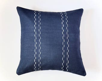 Linen Pillow Cover | Double Parallel Lines | Navy