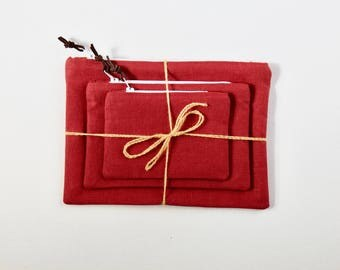 Linen Pouches   Set of 3   Red