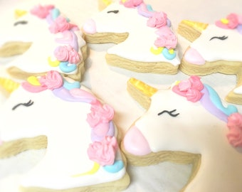 Unicorn cookies - 1 dozen unicorn decorated sugar cookies