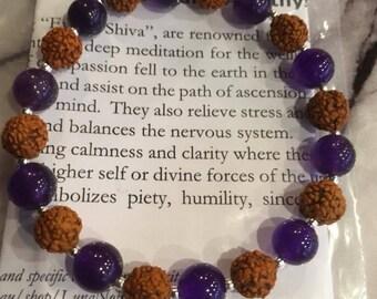 Rudraksha Seed and Amethyst Bracelet | Rudraksha Wrist Mala