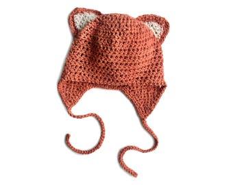 Fox Hat, Crochet Hat, Infant Hat, Infant Hat, Newborn Hat, Organic Cotton Hat