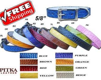 Crock Leather Designer Puppy Collars - Fancy Dog Leather Collar - Cool Collars for Small size Dogs - made in USA - Free shipping in US