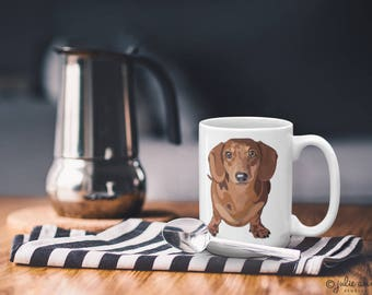 Dachshund Mug, Red Dachshund Mug, Doxie Mug, Doxie Gift, Dachshund Gift, Long Haired Dachshund Gift, Dog Breed Mug, Dog Lover Gift, Dog Gift