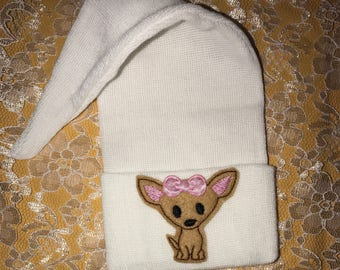 Newborn Hospital Stocking Hat with Chihuahua with Bow Newborn Hospital Beanie. Cute for Photo for Every Baby Girl aDOrAbLe Baby Hat