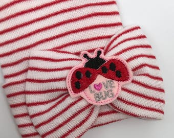 Our Popular Newborn Hat Now with Love Bug Embellishment. Newborn Hospital Beanie.  Baby Newborn Hats. Same Material Bow. Great Gift Lady Bug