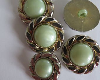 Vintage gold and pale green button