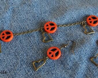Set two piece earrings and bracelet Peace' only Love orange