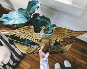 Large Gold Metal Eagle Wall Hanging Decoration w/ Shield
