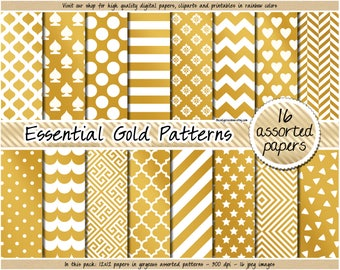 SALE gold digital paper golden digital paper gold foil printable paper gold chevron stripes polka dot gold clipart gold pattern gold sticker