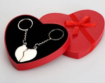 Key pendant for couples-silvered in decorative gift box