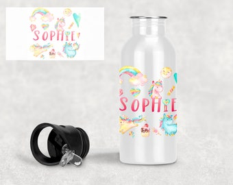 Personalised Stainless Steel Water Bottle - UNICORN