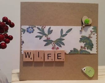 Wife Birthday Card, Wife Anniversary Card, Wife Card, Handmade Card, Hedgehog & Scrabble Letters, 3D Card, Special Anniversary, Wife Gift