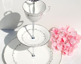 English 3 Tier Cake/Cupcake Stand.White and Silver Tiered Cake Stand. Tea Party, Bridal Shower, Baby shower, Wedding, Centerpiece