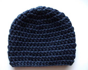 Cotton baby hat Navy baby hat Newborn boy hat Crochet baby boy hat Boy hospital hat Newborn boy outfit Baby boy beanie Newborn cotton hat