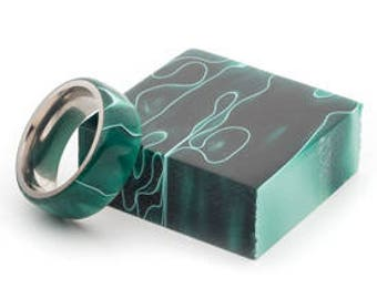 Handmade Green Acrylic And Stainless Steel Ring