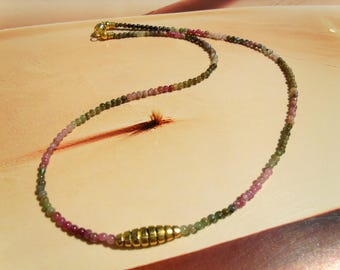 TOURMALINE MULTICOLOR NECKLACE ball chain gradient small tiny nice