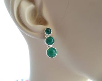 Handcrafted Genuine 6.00ctw Graduating Green Agate Sterling Silver Post Dangle Friction Back Earrings, Wt.  6 Grams