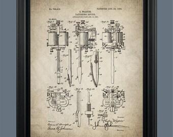 Vintage Tattoo Machine Patent Print - Tattoo Pen - Tattoo Poster - Tattoo Artist - Tattoo Art - Tattoo Parlor - Tattooing Machine - #140