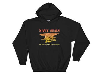 Navy SEAL The Only Easy Day Was Yesterday Hooded Sweatshirt Gold