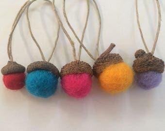 Felt Acorn, Acorn Ornament, Rainbow Ornament Gift, Felt Ornament, Eco Friendly Ornament, Gift for Male Teacher, Present Topper, Office Gift