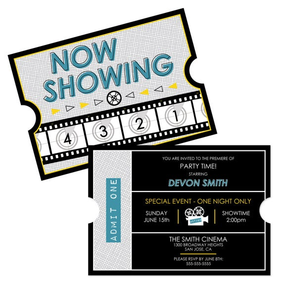 movie hollywood party invitations personalized red carpet