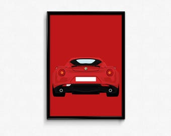 Alfa Romeo 4C A3 Print