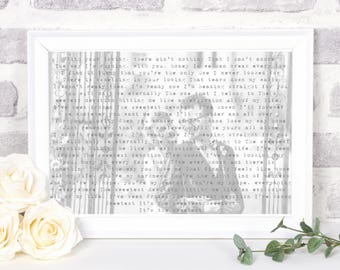 wedding song lyrics, wedding song lyric art, first dance lyrics, personalised song lyrics, song lyrics print, song lyric art, wedding gift