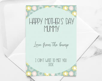 card from the bump, mum to be mother's day card,  mothers day from bump, mother to be card, mum to be mothers day gifts