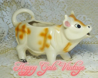 Cow Creamer / Cow Pitcher / Ceramic Cow Creamer / Cow Figurine Creamer / Vintage Cow Creamer / Cute Cow / Cow Gift / Collectible Cow Creamer