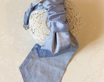 Beautiful pure silk cornflower blue wedding cravat pre-tied adjustable necktie