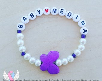 Howlite Butterfly - Personalized Handmade Bracelet - PURPLE/WHITE