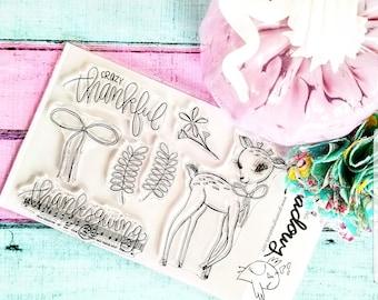 Thanks Deer Stamps Christian Stamping bow thanksgiving ribbon vintage floral fawn Worship Bible Journaling Growing Meadows Tai Bender