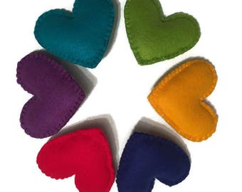 Rainbow Heart Felt Brooches