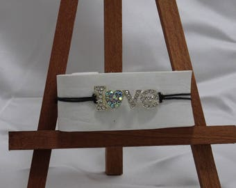 Love bracelet rhinestone connector contn waxed thread